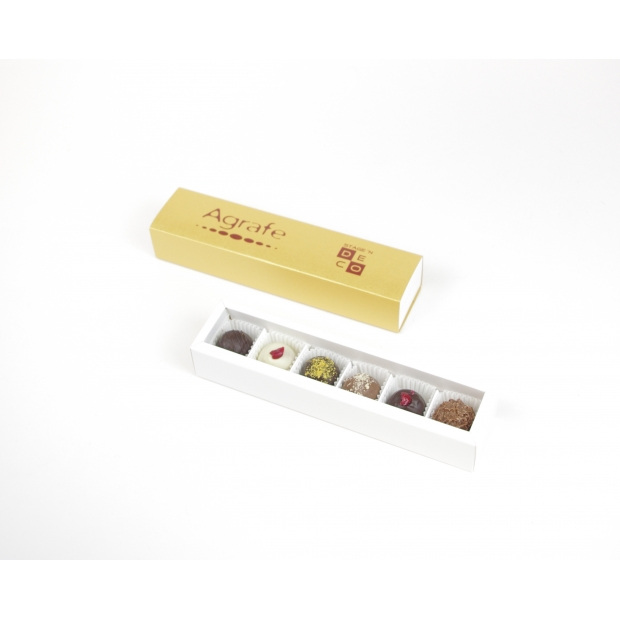 6 šokolādes trifeles kastītē