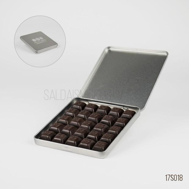 25 šokolādes gabaliņi metāla kastītē