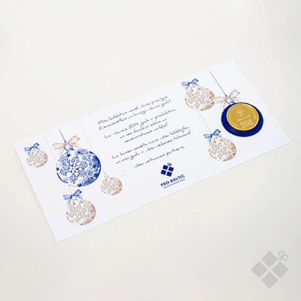 Apsveikuma kartiņa ar šokolādes monētu