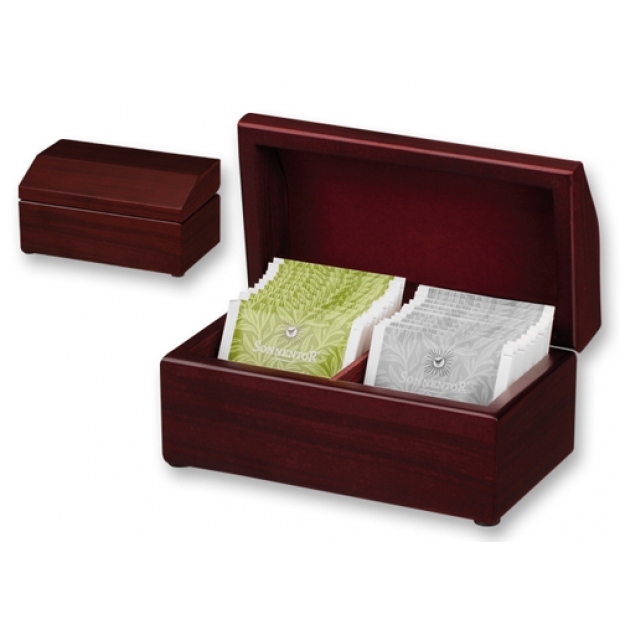 Set of tea bags in wooden box.